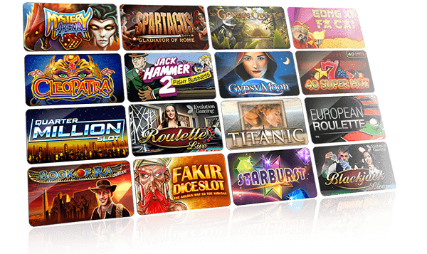 Scherm met casinospellen die beschikbaar zijn op Circus