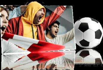 Voetbalfans die hun team supporten en een voetbal