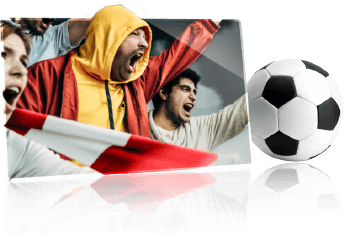 A football and football fans cheering on their team