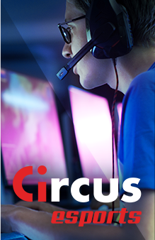 Circus esports - man with a headset making a sports bet