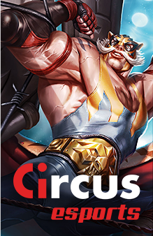 Circus e-sports -  Stripfiguur die zijn spieren toont