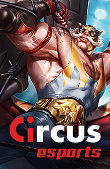 Circus esports avec un personnage montrant ses muscles