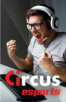 Circus esports - man with headset cheering he has won a sports bet