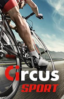 Circus Sport - cycliste sur la route vu du sol